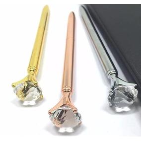 Caneta Diamante Cristal Colorido Esferográfica Luxo