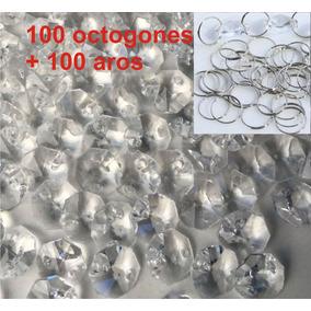 100 Octagones D Cristal 14mm Y 100 Aros Para Cortina Candil