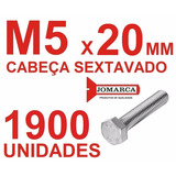 Pct 1900/parafusos Sextavado Rosca Inteira Métrica M5x20
