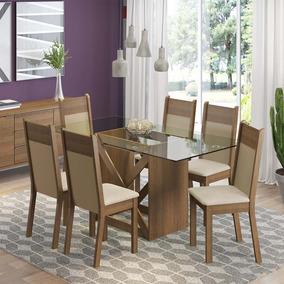 Conjunto De Mesa Com 6 Cadeiras Denver Rustic Pérola Crema