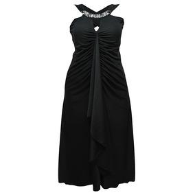 Vestido Sin Mangas Liso Negro Dama Mujer Aplicacion Zoara