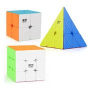 Cubos Rubik Qiyi 3x3 + 2x2 + Piraminx + Bases + Lubr + Envío
