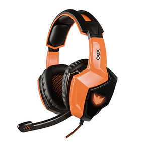 Fone De Ouvido Gamer Com Microfone Oex Preto/laranja Hs401