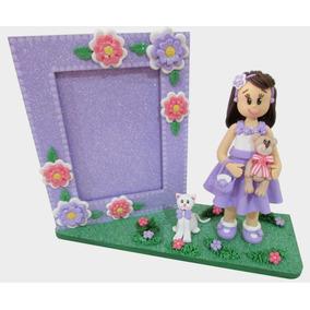 Quadro Infantil Menina Lilás Porta Retrato Decorado Biscuit