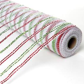 Tecido Decorativo Branco, Vermelho E Verde - Cromus: 1715087