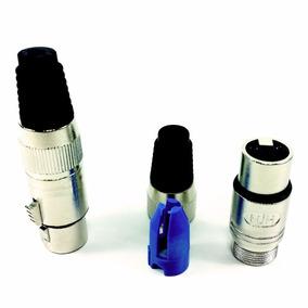 Conector Plug Hjh Xlr Canon Femea Terminais Banhado A Ouro