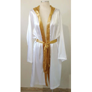 Robe De Cetim Com Capuz Branco E Dourado Mangas Longas
