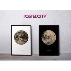 Cuadro Tierra O Luna Efecto Grabado 60 X 90 Cm