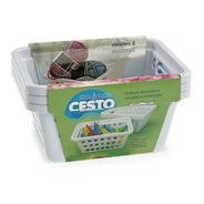 Kit 03 Conjuntos Cesto Organizador Retangular Branco