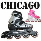 Patines Chicago En Linea Ajustables + Kit De Proteccion Or