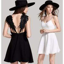 Vestido Asas De Anjo De Renda De Festa Branco/preto