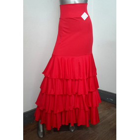 Falda Flamenca A Medida Faldón Campana C/4 Volantes Jersey