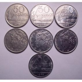 Moedas 50 Centavos - 1970, 1978 E 1979 - Lote Com 7 Moedas
