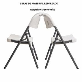2 Sillas Plegable Plastico Reforzado Gratis