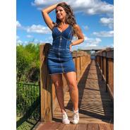Vestido Sol Jeans Tubinho Zíper Frontal Com Lycra 3140