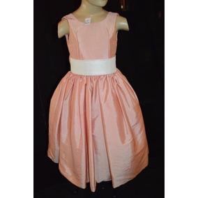 Vestido De Daminha - Tafetá - Salmon