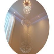 Lustre Cristal 3 Globos De 2,30 Até 3 Metros Com 8 Lampadas