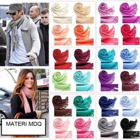 20 Pashminas Chalinas Lisas Con Flecos (x Mayor) 40 Colores