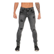 Jeans Mezclilla Stretch Snow Negro Demolición Skinny Hombre