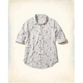 Camisa Casual Feminina Hollister Cinza Estampada Frete Grati