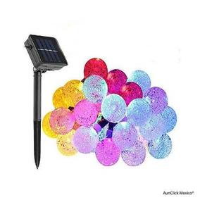 Serie Navideña Solar Led 6m Bola Cristal Recargable Automati