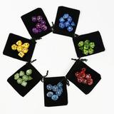 Set Con 7 Dados Rpg Con Bolsa De Regalo. Variedad De Colores