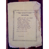 Antiguo Grabado Impreso Soneto Celaya Año 1858
