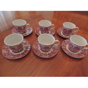 Antigo Jogo 6 Xicaras De Café Porcelana Inglesa Wood & Sons