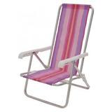 Cadeira De Praia Em Alumínio Reclinável Com 4 Posi. Mor 2103