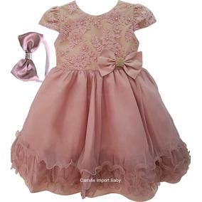 Vestido Infantil Festa Luxo Princesa Daminha Rose E Tiara
