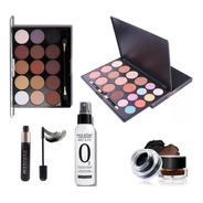 Kit Maquiagem Miss Rose Paleta Sombra Iluminador Base Corretivo Pó Finalizador Translucido Máscara Para Os Cílios