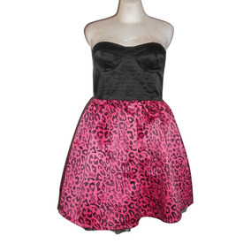 Abbey Dawn Avril Lavigne Vestido Animal Print Rosa Satin Xl