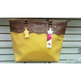 Bolsa 100% Piel Color Amarillo Moderna Y Primaveral