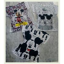 Blusa Feminina Manga Curta Kit Com 5 Camisetas Mickey Person
