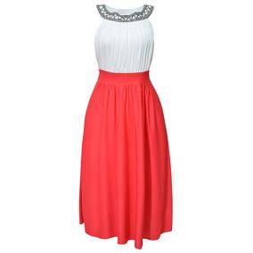 Vestido Sin Mangas C/ Aplicacion Dama Mujer Rojo 1459 Zoara
