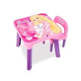 Mesinha Mesa Infantil Com Cadeira Rosa Barbie + Adesivos