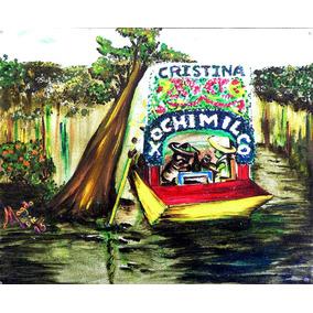 Por Xochimilco Pintura Al Óleo Sobre Tela 20 X 24.5 Cm.