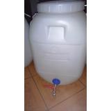 Bidon Agua Compost 60-50 Lts Llave Metalica Blanco Tapa