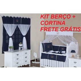 Kit Berço Príncipe Com Cortina Menino Para Bebê Azul Marinho