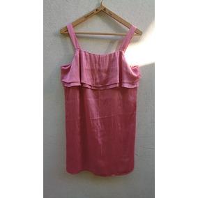 Vestido H&m De Raso Color Rosa Largo Medio Rodilla