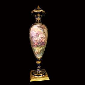 Espectacular Antiguo Potiche Sevres Porcelana Y Bronce
