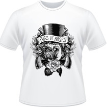 Camiseta Pugs N Roses Guns Pug Rose Slash Rock Banda Camisa