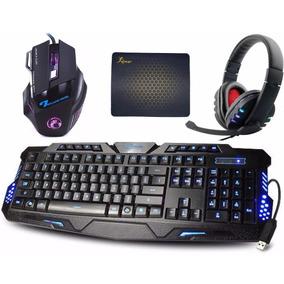 Kit Gamer Teclado Iluminado + Mouse Gamer +headset +mousepad