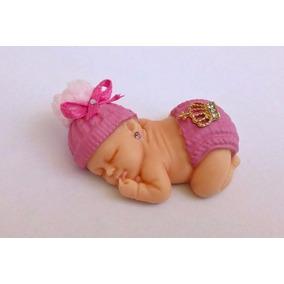 10 Lembrancinhas Bebe Em Biscuit Cor Rosa Com Coroa Menina