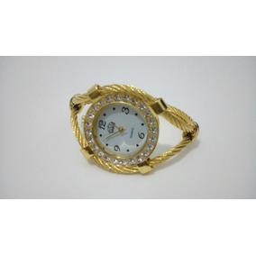 Relogio Bracelete Feminino Dourado Em Aço Nautico Promoçao