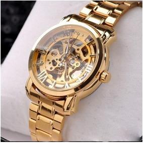 ef90ab34512 Relógio Esqueleto Luxo Folheado Ouro Mecânico Automático M