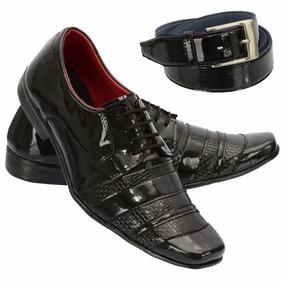 Sapato Social Verniz Masculino +cinto Meia Calçadeira Khaata