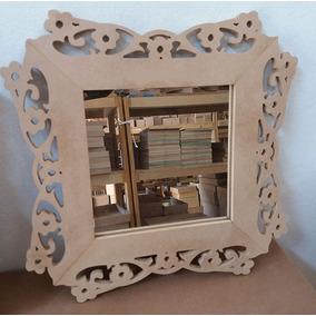 Espelho Com Moldura Em Mdf Crú - Floral