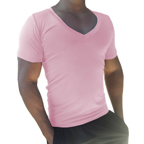 Camisa Gola V Funda Básica Masculina Manga Curta Elastano