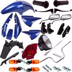 Kit Carenagem + Kit Guidao Pisca Cg 150 Titan 2007 Azul